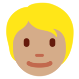 Person: Medium Skin Tone, Blond Hair on Twitter Twemoji 12.1.4
