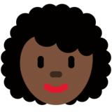 Woman: Dark Skin Tone, Curly Hair on Twitter Twemoji 12.1.4