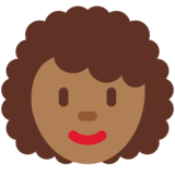 Woman: Medium-Dark Skin Tone, Curly Hair on Twitter Twemoji 12.1.4