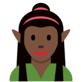 Woman Elf: Dark Skin Tone on Twitter Twemoji 12.1.4