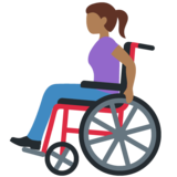 Woman in Manual Wheelchair: Medium-Dark Skin Tone on Twitter Twemoji 12.1.4