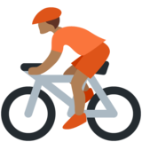 Person Biking: Medium-Dark Skin Tone on Twitter Twemoji 12.1.5