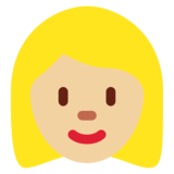 Woman: Medium-Light Skin Tone, Blond Hair on Twitter Twemoji 12.1.5