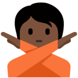 Person Gesturing No: Dark Skin Tone on Twitter Twemoji 12.1.5