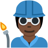 Factory Worker: Dark Skin Tone on Twitter Twemoji 12.1.5