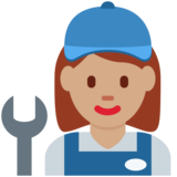 Woman Mechanic: Medium Skin Tone on Twitter Twemoji 12.1.5