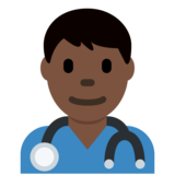 Man Health Worker: Dark Skin Tone on Twitter Twemoji 12.1.5