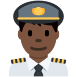 Man Pilot: Dark Skin Tone on Twitter Twemoji 12.1.5