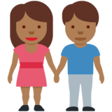 Woman and Man Holding Hands: Medium-Dark Skin Tone on Twitter Twemoji 12.1.5