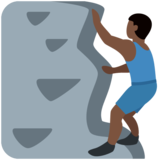 Man Climbing: Dark Skin Tone on Twitter Twemoji 12.1.5