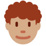 Man: Medium Skin Tone, Curly Hair on Twitter Twemoji 12.1.5