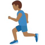 Man Running: Medium-Dark Skin Tone on Twitter Twemoji 12.1.5