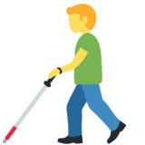 Man with Probing Cane on Twitter Twemoji 12.1.5