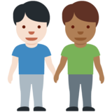 Men Holding Hands: Light Skin Tone, Medium-Dark Skin Tone on Twitter Twemoji 12.1.5