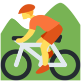 Person Mountain Biking on Twitter Twemoji 12.1.5