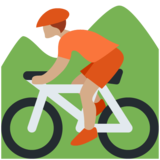 Person Mountain Biking: Medium Skin Tone on Twitter Twemoji 12.1.5