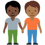 People Holding Hands: Dark Skin Tone, Medium-Dark Skin Tone on Twitter Twemoji 12.1.5