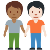 People Holding Hands: Medium-Dark Skin Tone, Light Skin Tone on Twitter Twemoji 12.1.5
