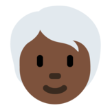 Person: Dark Skin Tone, White Hair on Twitter Twemoji 12.1.5