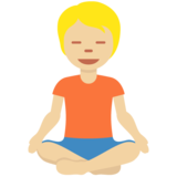 Person in Lotus Position: Medium-Light Skin Tone on Twitter Twemoji 12.1.5