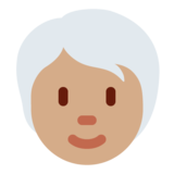 Person: Medium Skin Tone, White Hair on Twitter Twemoji 12.1.5