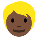 Person: Dark Skin Tone, Blond Hair on Twitter Twemoji 12.1.5