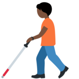 Person with White Cane: Dark Skin Tone on Twitter Twemoji 12.1.5