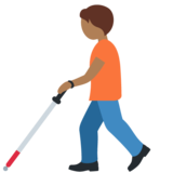 Person with White Cane: Medium-Dark Skin Tone on Twitter Twemoji 12.1.5