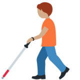 Person with White Cane: Medium Skin Tone on Twitter Twemoji 12.1.5