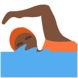 Person Swimming: Dark Skin Tone on Twitter Twemoji 12.1.5