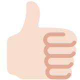 Thumbs Up: Light Skin Tone on Twitter Twemoji 12.1.5