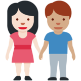 Woman and Man Holding Hands: Light Skin Tone, Medium Skin Tone on Twitter Twemoji 12.1.5