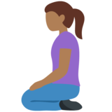 Woman Kneeling: Medium-Dark Skin Tone on Twitter Twemoji 12.1.5