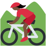 Woman Mountain Biking: Dark Skin Tone on Twitter Twemoji 12.1.5