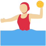 Woman Playing Water Polo: Medium-Light Skin Tone on Twitter Twemoji 12.1.5