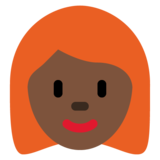 Woman: Dark Skin Tone, Red Hair on Twitter Twemoji 12.1.5