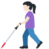 Woman with Probing Cane: Light Skin Tone on Twitter Twemoji 12.1.5