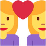 Couple with Heart: Woman, Woman on Twitter Twemoji 12.1.6