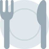 Fork and Knife with Plate on Twitter Twemoji 12.1.6