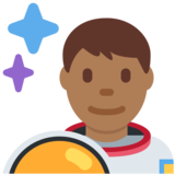 Man Astronaut: Medium-Dark Skin Tone on Twitter Twemoji 12.1.6
