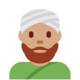 Man Wearing Turban: Medium Skin Tone on Twitter Twemoji 12.1.6