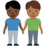 Men Holding Hands: Dark Skin Tone, Medium-Dark Skin Tone on Twitter Twemoji 12.1.6