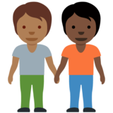 People Holding Hands: Medium-Dark Skin Tone, Dark Skin Tone on Twitter Twemoji 12.1.6