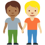 People Holding Hands: Medium-Dark Skin Tone, Medium-Light Skin Tone on Twitter Twemoji 12.1.6