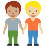 People Holding Hands: Medium Skin Tone, Medium-Light Skin Tone on Twitter Twemoji 12.1.6