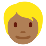Person: Medium-Dark Skin Tone, Blond Hair on Twitter Twemoji 12.1.6