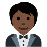Person in Tuxedo: Dark Skin Tone on Twitter Twemoji 12.1.6
