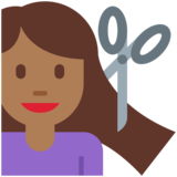 Woman Getting Haircut: Medium-Dark Skin Tone on Twitter Twemoji 12.1.6