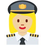 Woman Pilot: Medium-Light Skin Tone on Twitter Twemoji 12.1.6