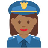Woman Police Officer: Medium-Dark Skin Tone on Twitter Twemoji 12.1.6